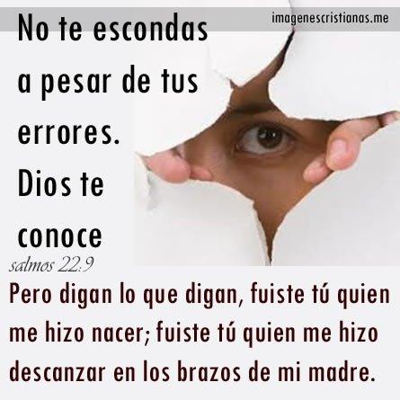 Imagenes Cristianas: Dios Conoce Tus Errores No Te Escondas